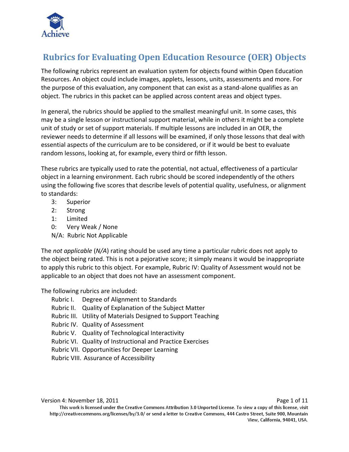 Achieve OER Rubrics by Achieve, Inc  - issuu