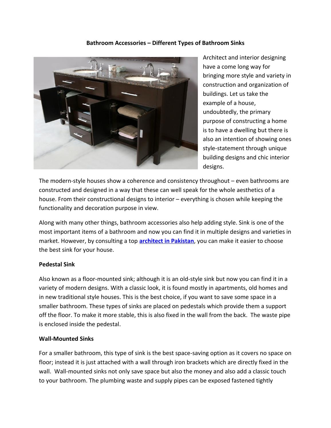 Bathroom Accessories Different Types Of Bathroom Sinks By Hamza Asif Issuu