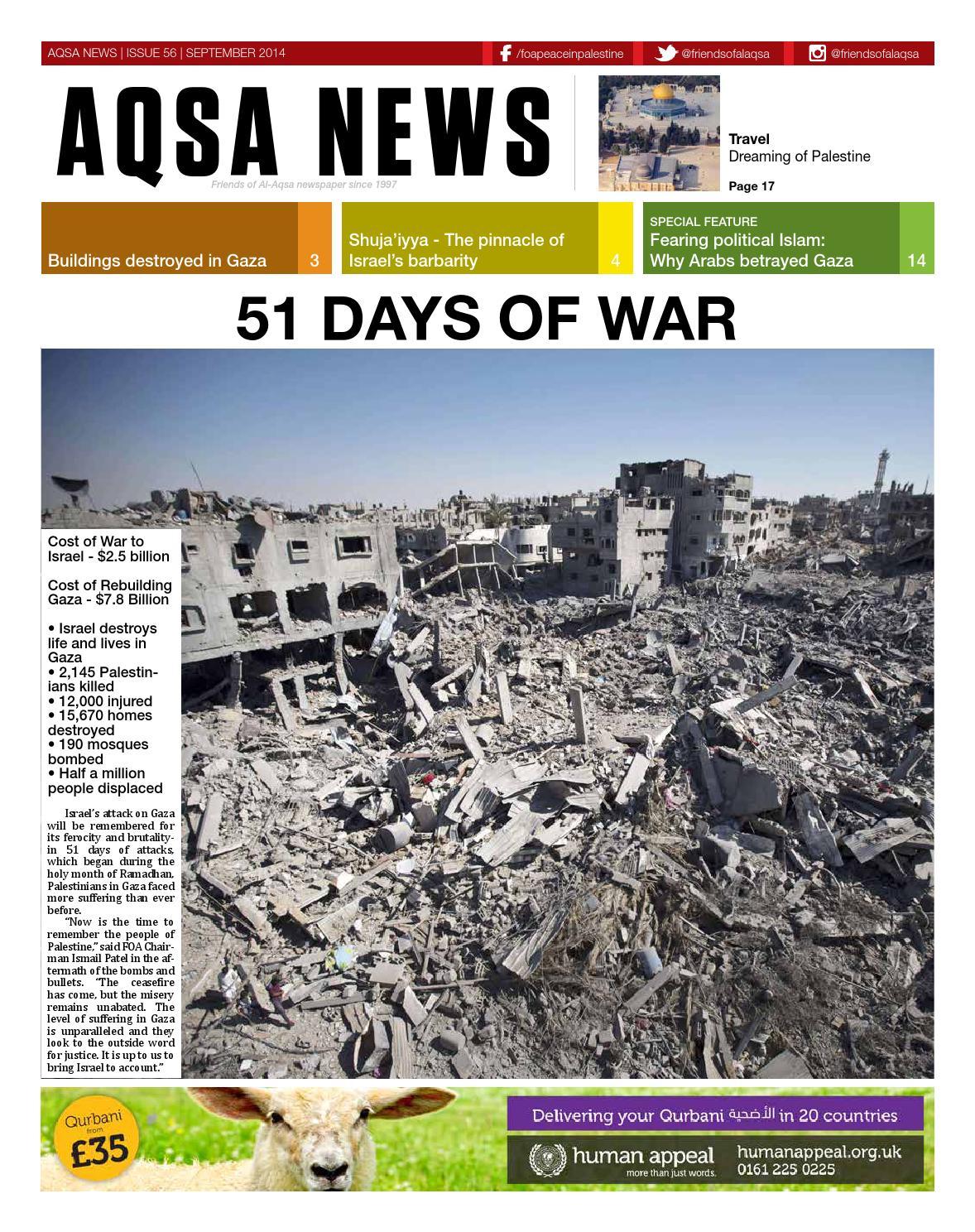 Aqsa News, Issue 56, September 2014 by Friends of Al Aqsa