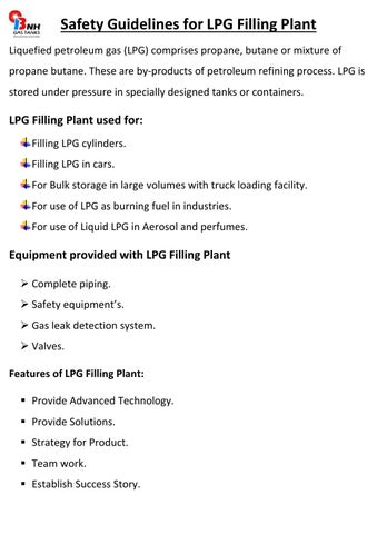 Safety guidelines for lpg filling plant by Bnh Gas Tanks - issuu