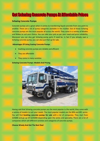 Get Schwing Concrete Pumps At Affordable Prices by Elvis Elton - issuu