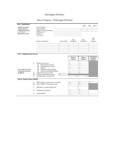 Tennessee Child Support Worksheet By Psonya Hackett Issuu