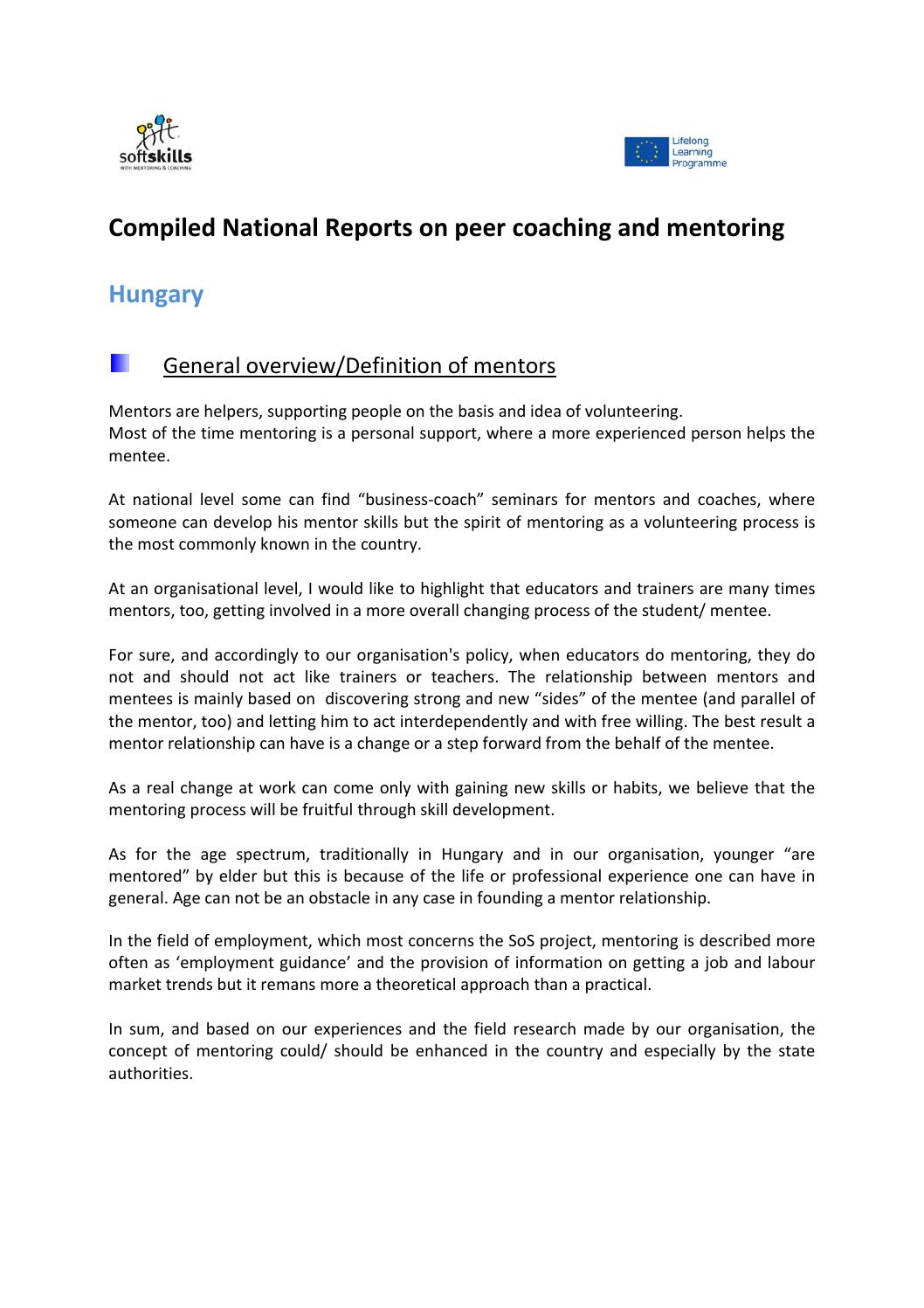 compiled national reports on peer coaching and mentoring by carlo