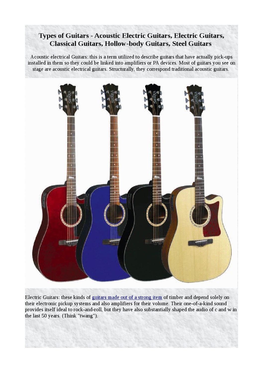 Types Of Guitars By Shonivyan Issuu