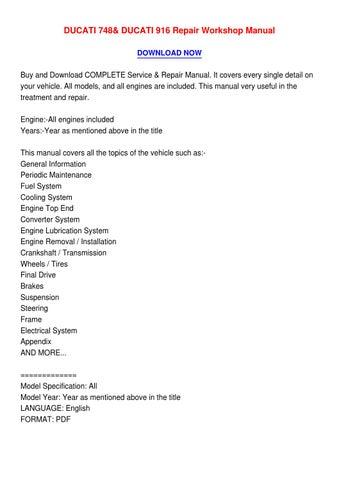 ducati 748 916 service and repair manual download