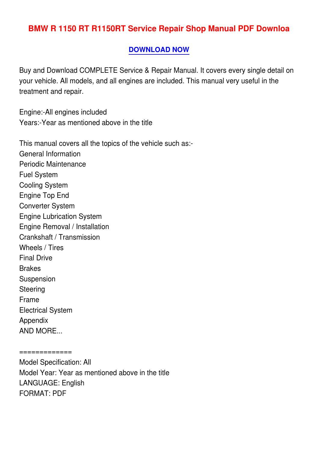 Bmw r 1150 rt r1150rt service repair shop manual pdf downloa4 by  norbertzornittadlzjr - issuu
