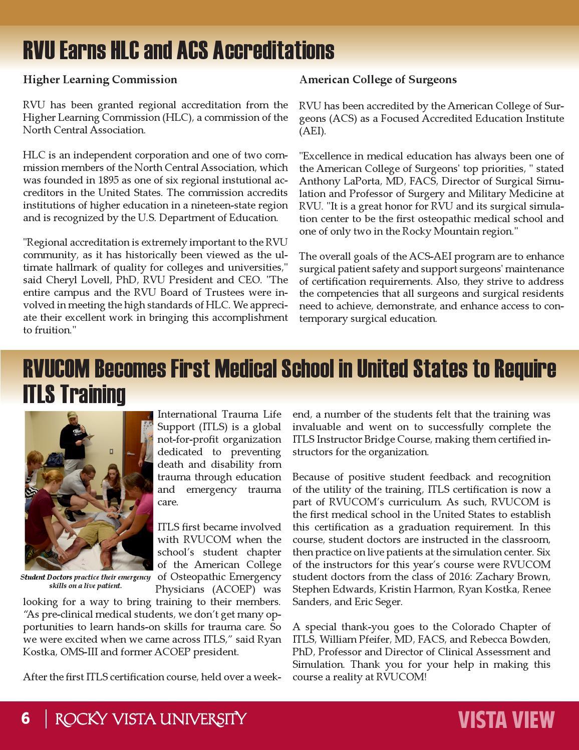 Rvu Vista View Fall 2014 Issue By Rocky Vista University College