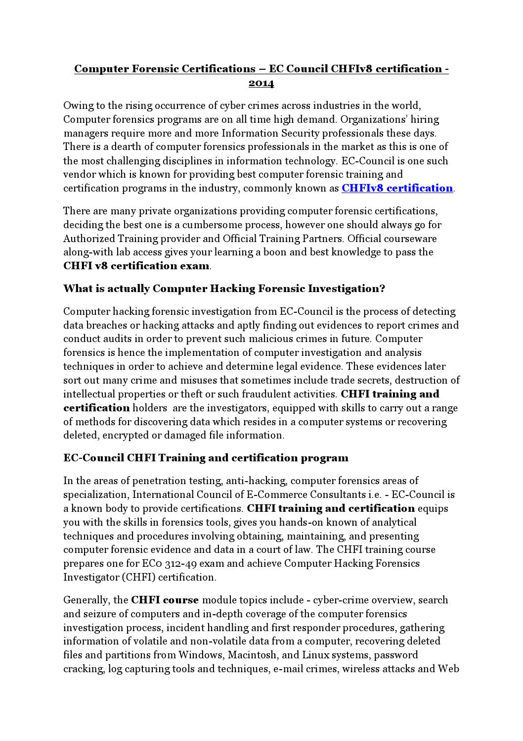 Computer Forensic Certifications By Ittraining Issuu
