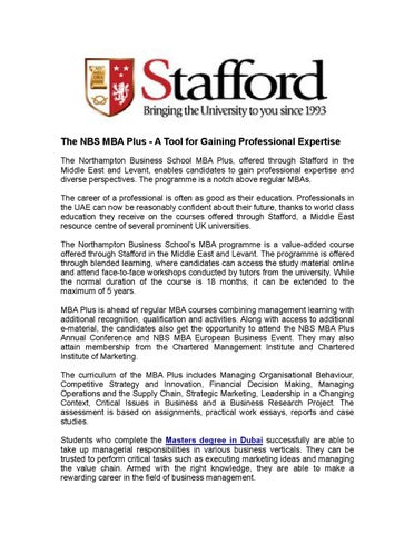 The NBS MBA Plus - A Tool for Gaining Professional Expertise by