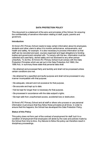 data protection policy this document is a statement of the aims and principles of the school for ensuring the confidentiality of sensitive information