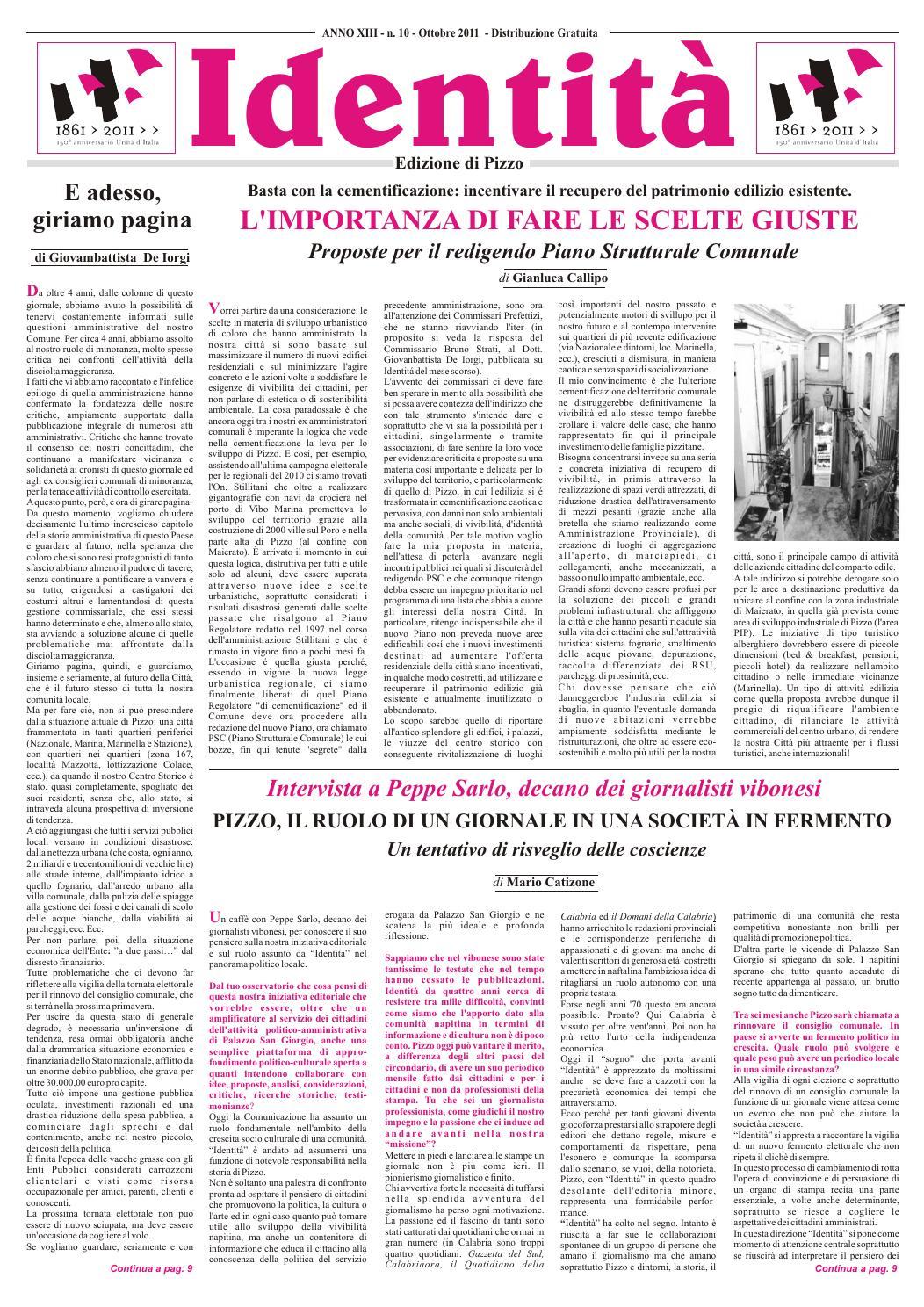 20111001 identità ottobre 2011 by Rassegna Stampa Pizzo di Calabria - issuu 35ae2dc6b18