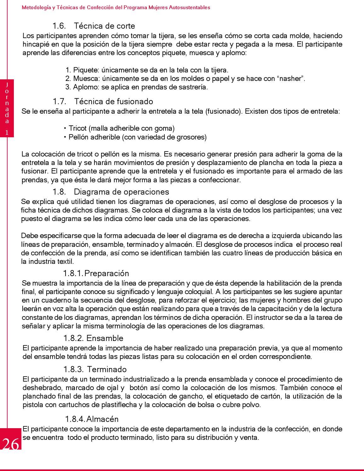 Manual de Capacitación en Técnicas de Confección Industrial by ...