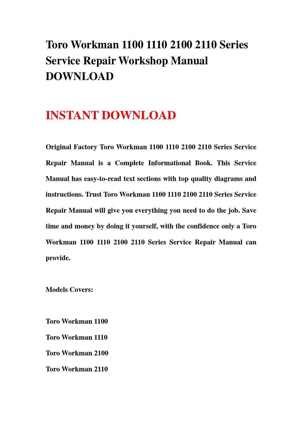 Toro Workman 1100 1110 2100 2110 Series Service Repair Workshop Manual Download By Hfdgsbefn