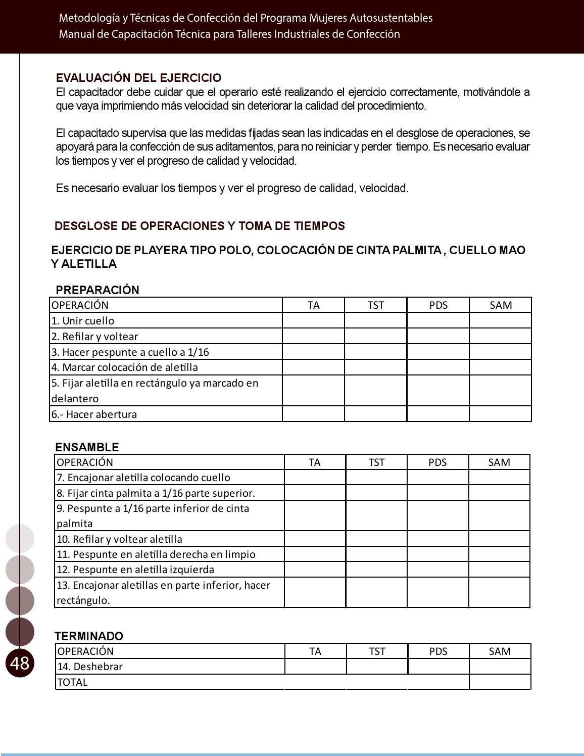 Manual t cnico de capacitaci n en procesos de confecci n for Distancia entre estantes biblioteca