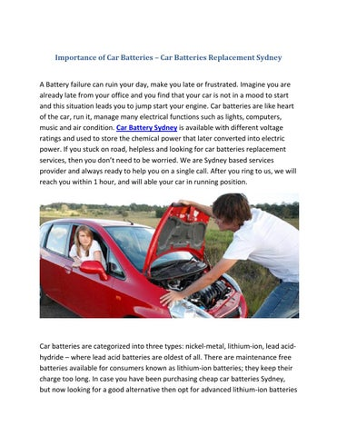 Car Batteries Replacement Sydney By Steven Jhon Issuu