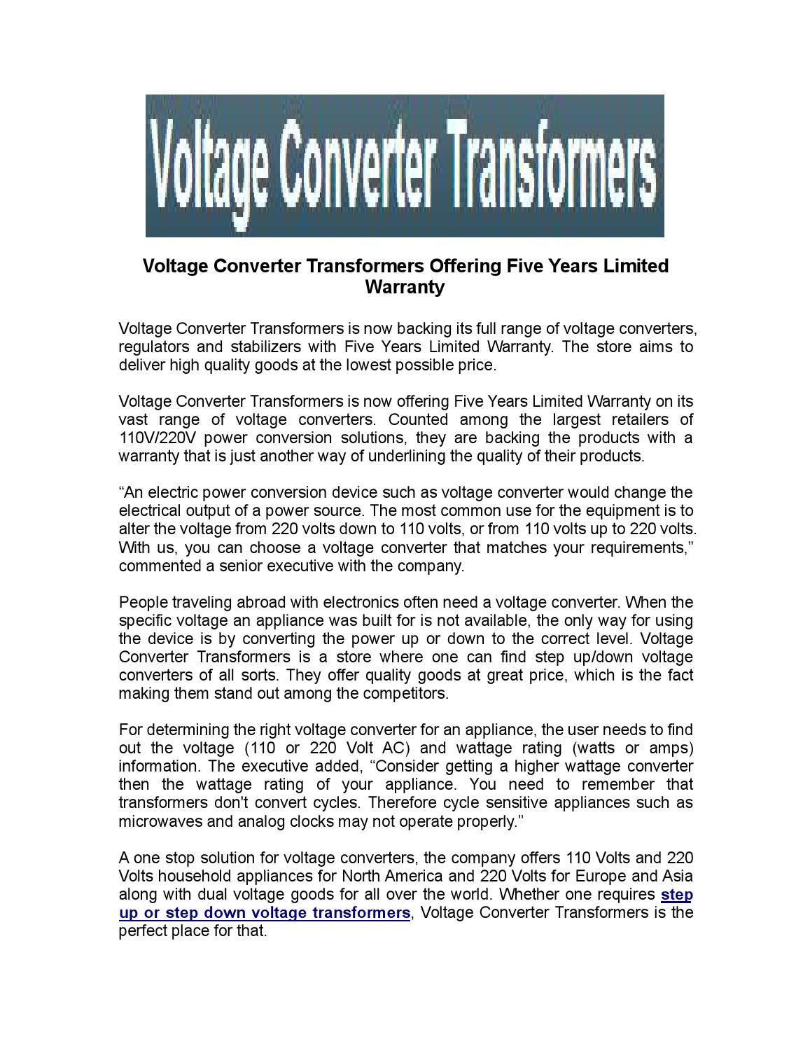 Voltage Converter Transformers Offering Five Years Limited Warranty ...