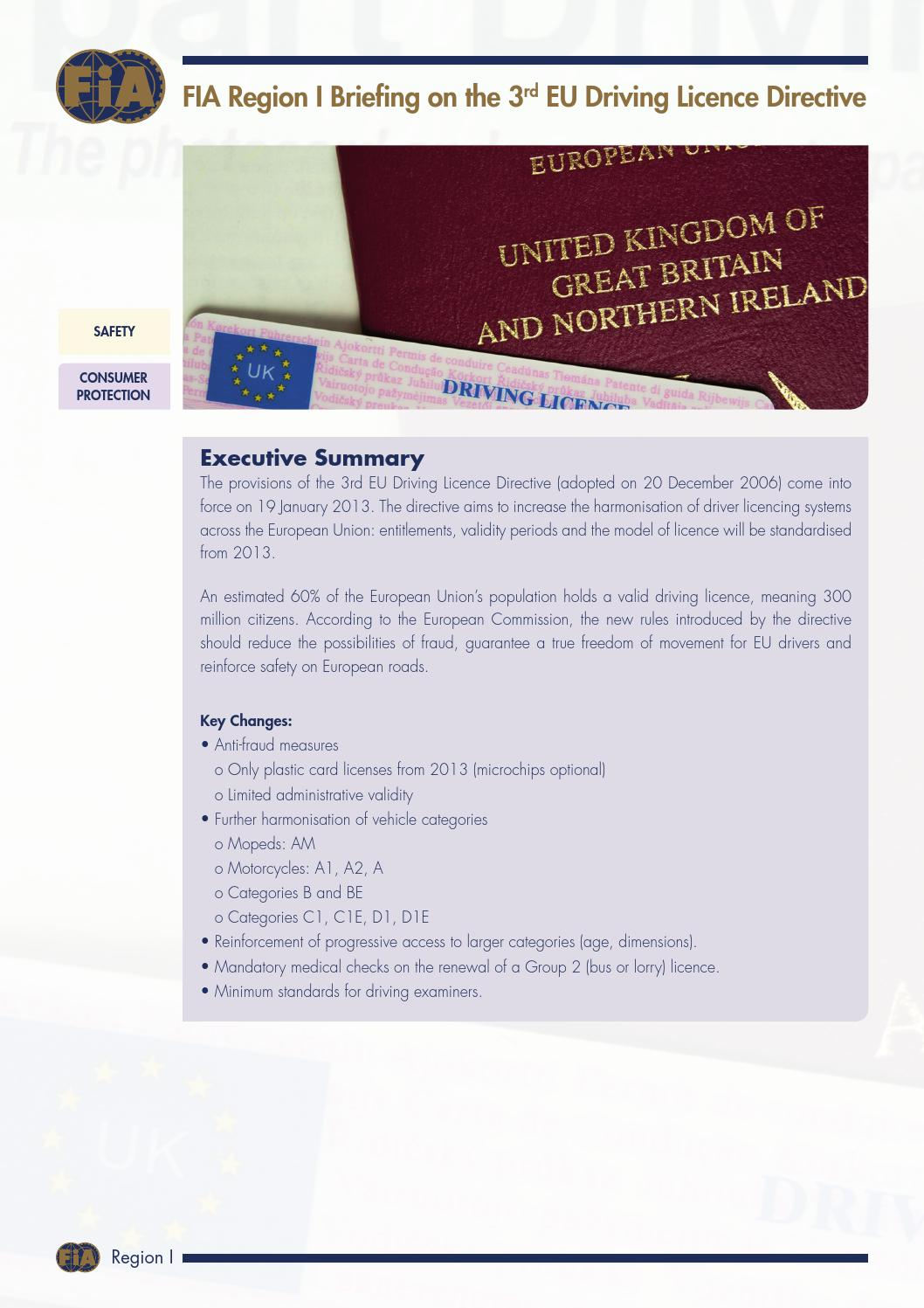 3rd EU Driving Licence Directive by FIA Region I - issuu