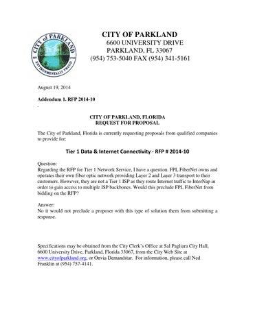 Rfp 2014 10 addendum 1 by City of Parkland - issuu