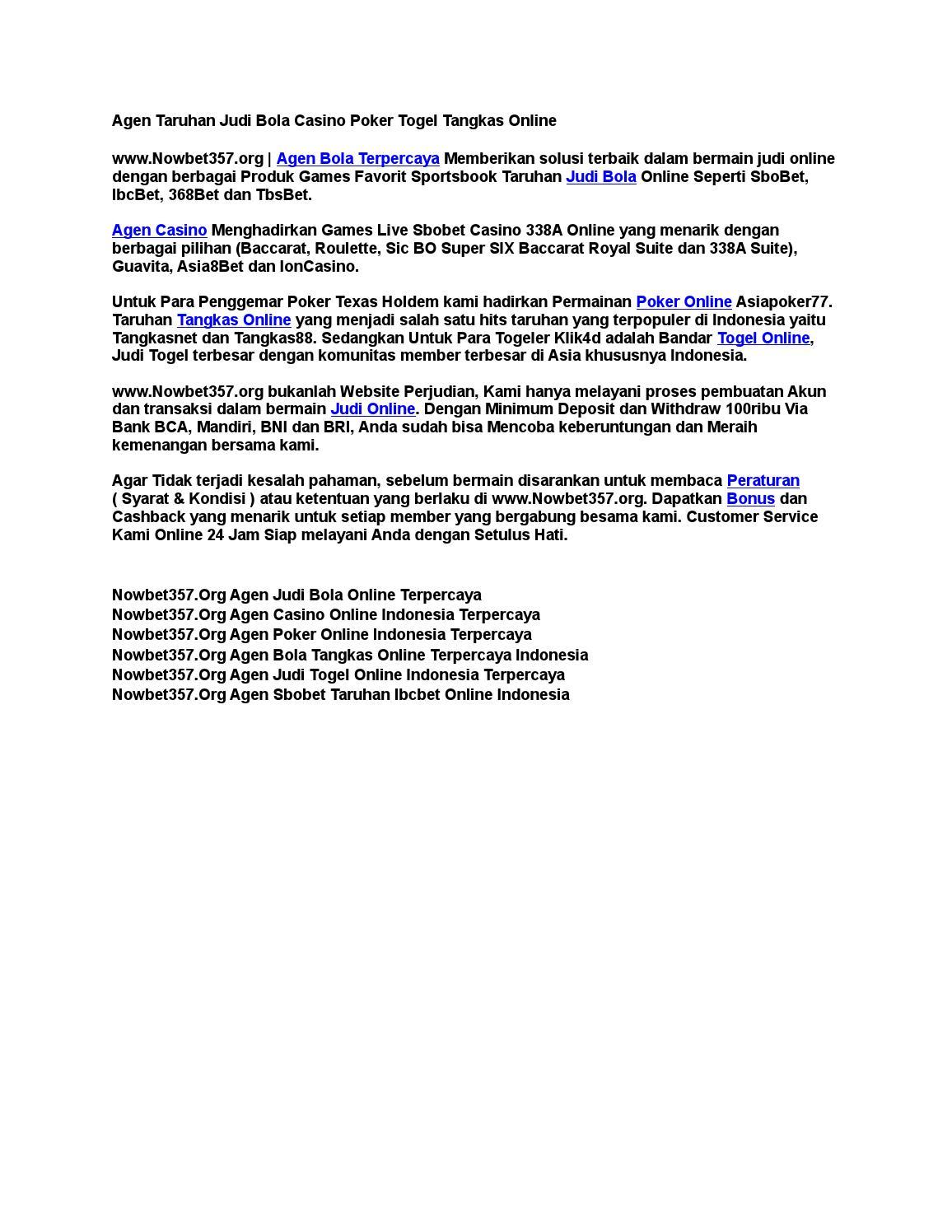 Agen Taruhan Judi Bola Casino Poker Togel Tangkas Online By Agen Sbobet Online Wap Asia Indonesia Mobile Issuu