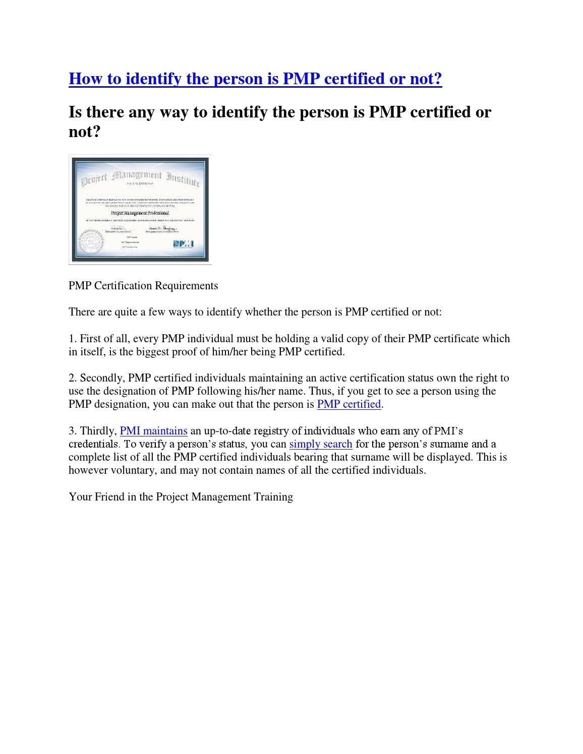 How to identify the person is pmp certified or not by pm higher how to identify the person is pmp certified or not by pm higher issuu 1betcityfo Choice Image