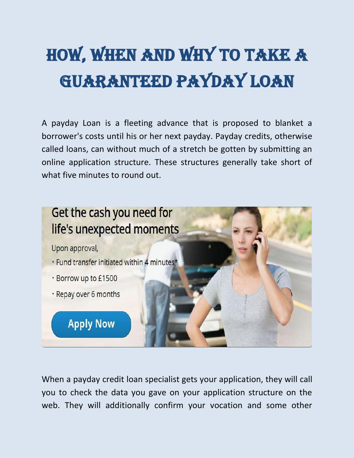 How, when and why to take a guaranteed payday loans by Cash