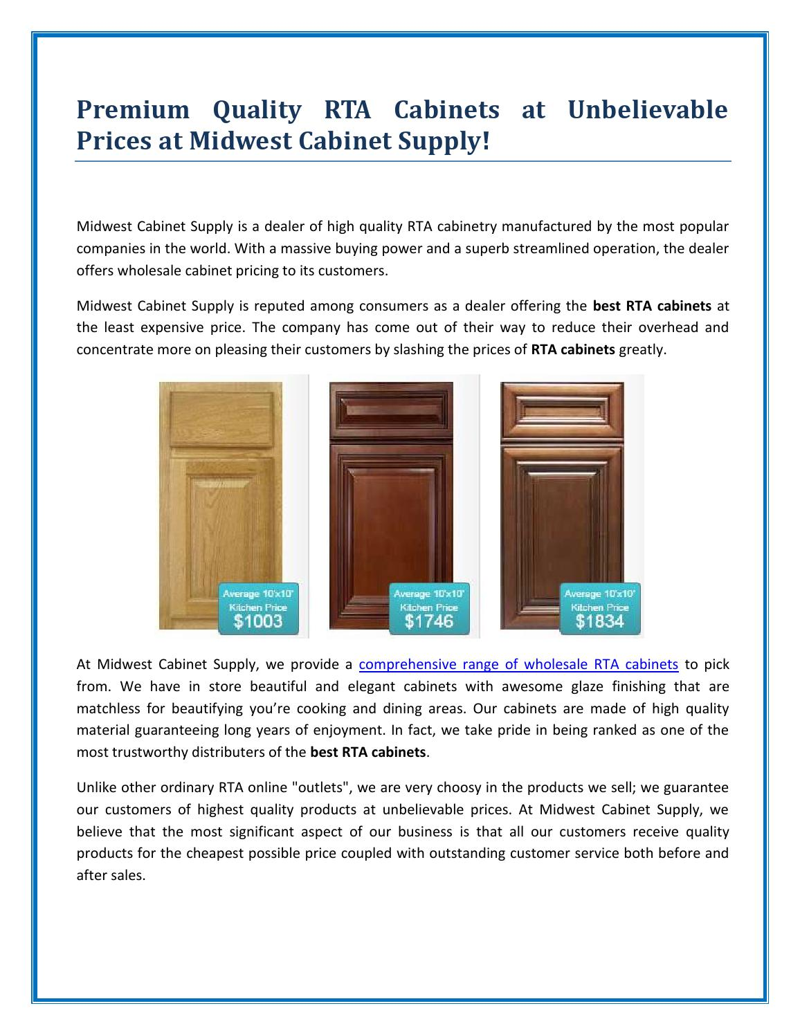 Quality Rta Cabinets By Midwest Cabinet Supply By Mid West Issuu - Quality rta cabinets