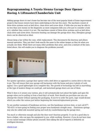 Reprogramming A Toyota Sienna Garage Door Opener Having A Liftmaster