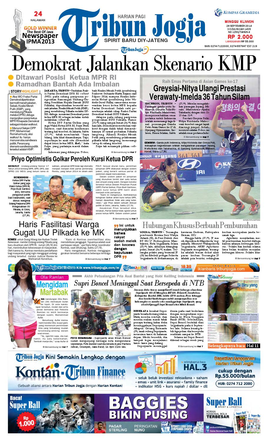 Tribunjogja 28 09 2014 By Tribun Jogja Issuu Produk Ukm Bumn Bale Sehat Teh Rosella Merah 3 Box