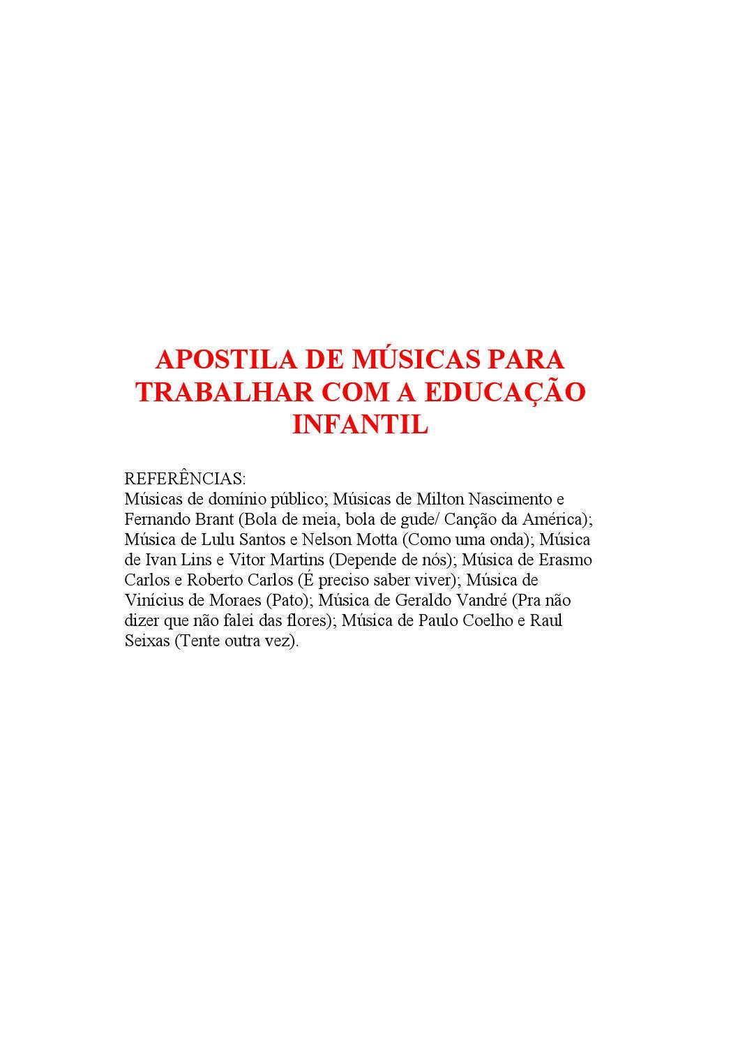 Apostila De Músicas Para Trabalhar Com A Educação Infantil By Faby