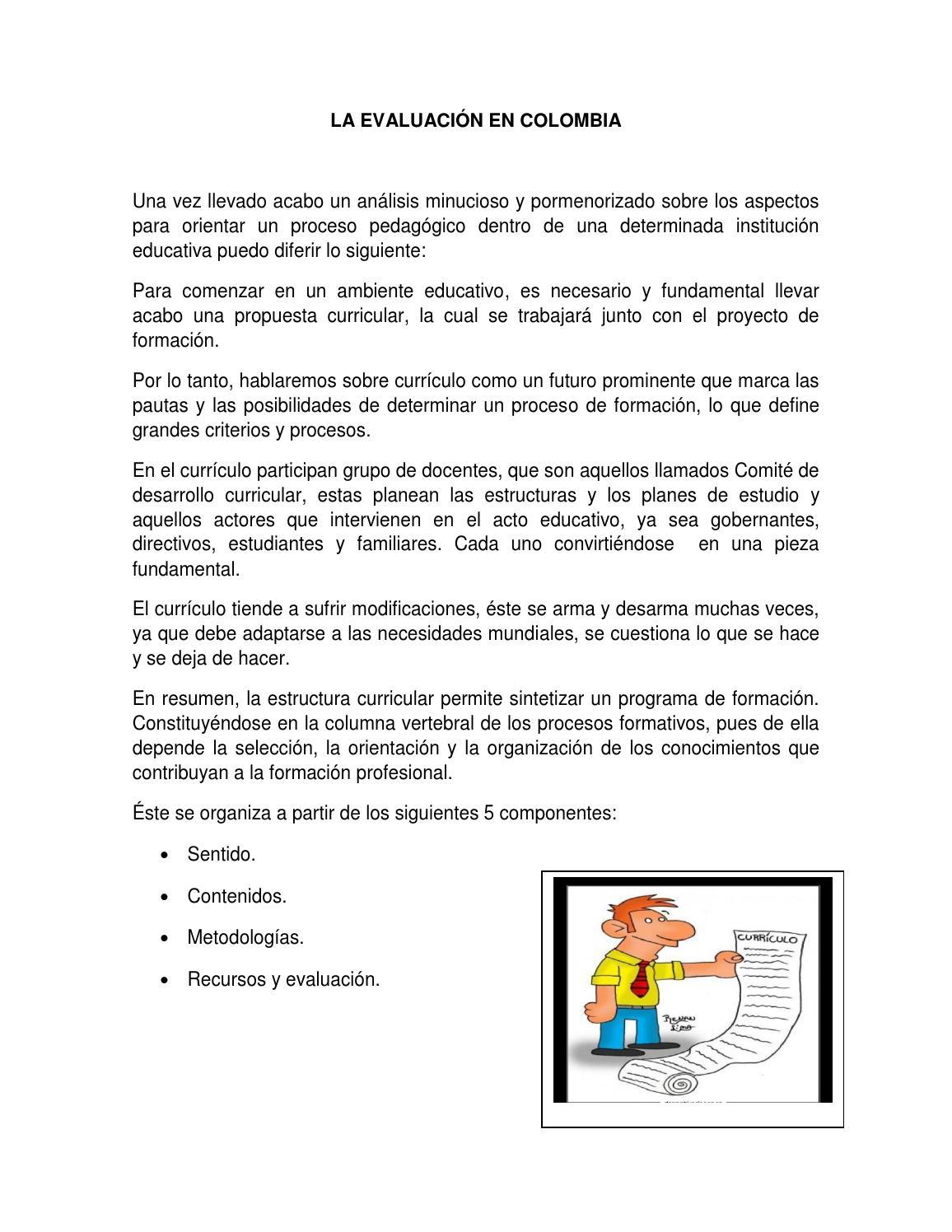 La Evaluación En Colombia By Mafeescorcia Issuu
