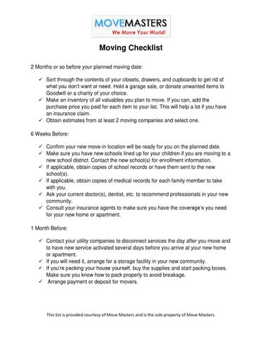 Www Movemastersmoving Net Pdf Moving Checklist By Movemasters  Issuu