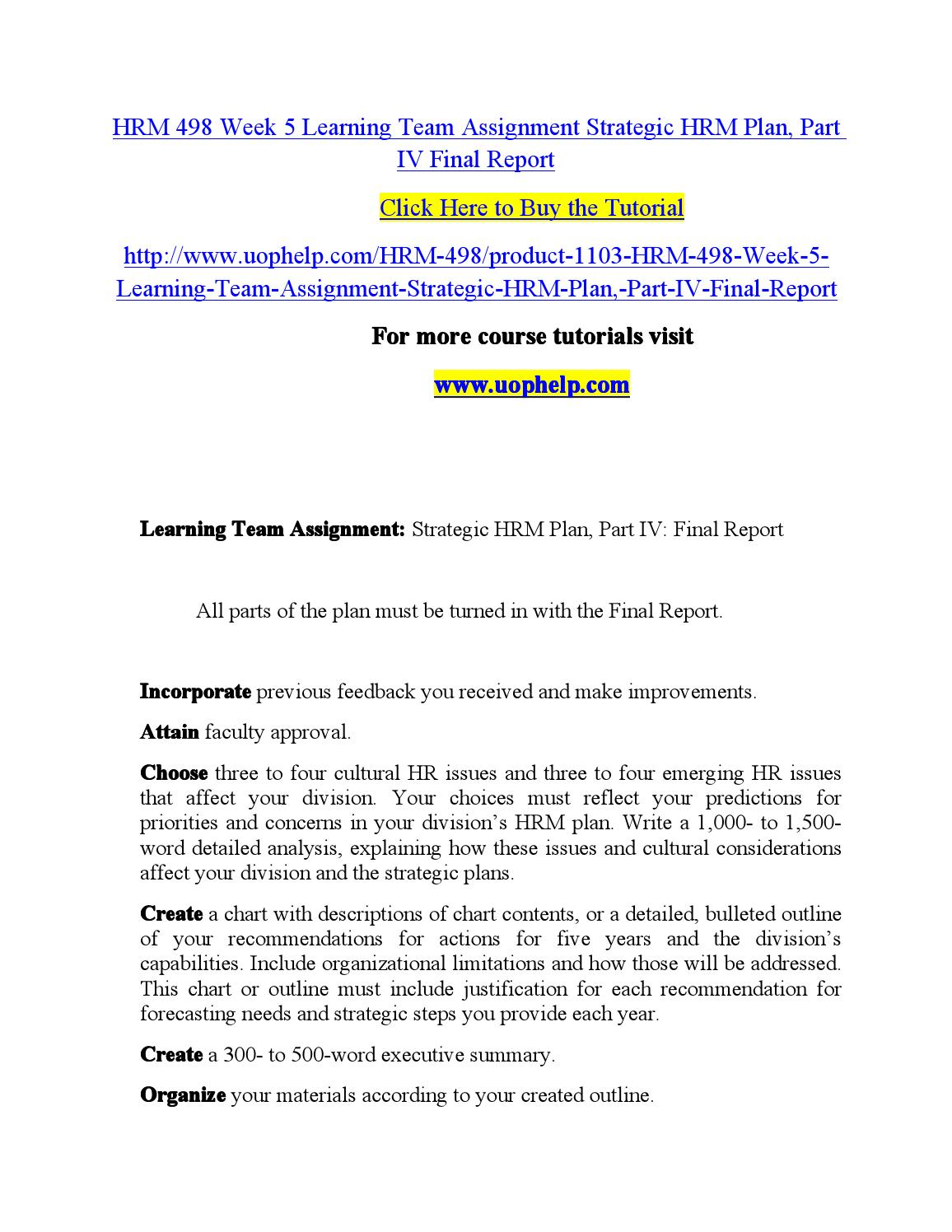 Hrm 498 week 5 learning team assignment strategic hrm plan, part iv ...