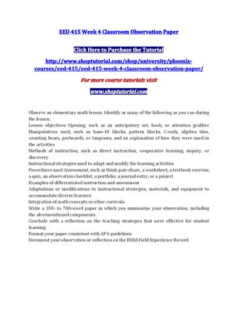 Eed 415 Week 4 Classroom Observation Paper By Sophyalily Issuu
