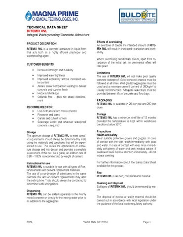 TECHNICAL DATA SHEET RITEMIX IWL Integral Waterproofing