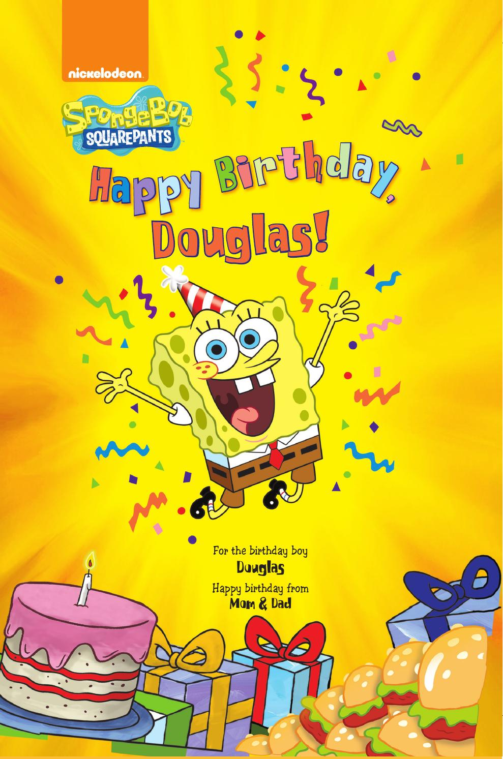 Put me in the story happy birthday spongebob personalized book
