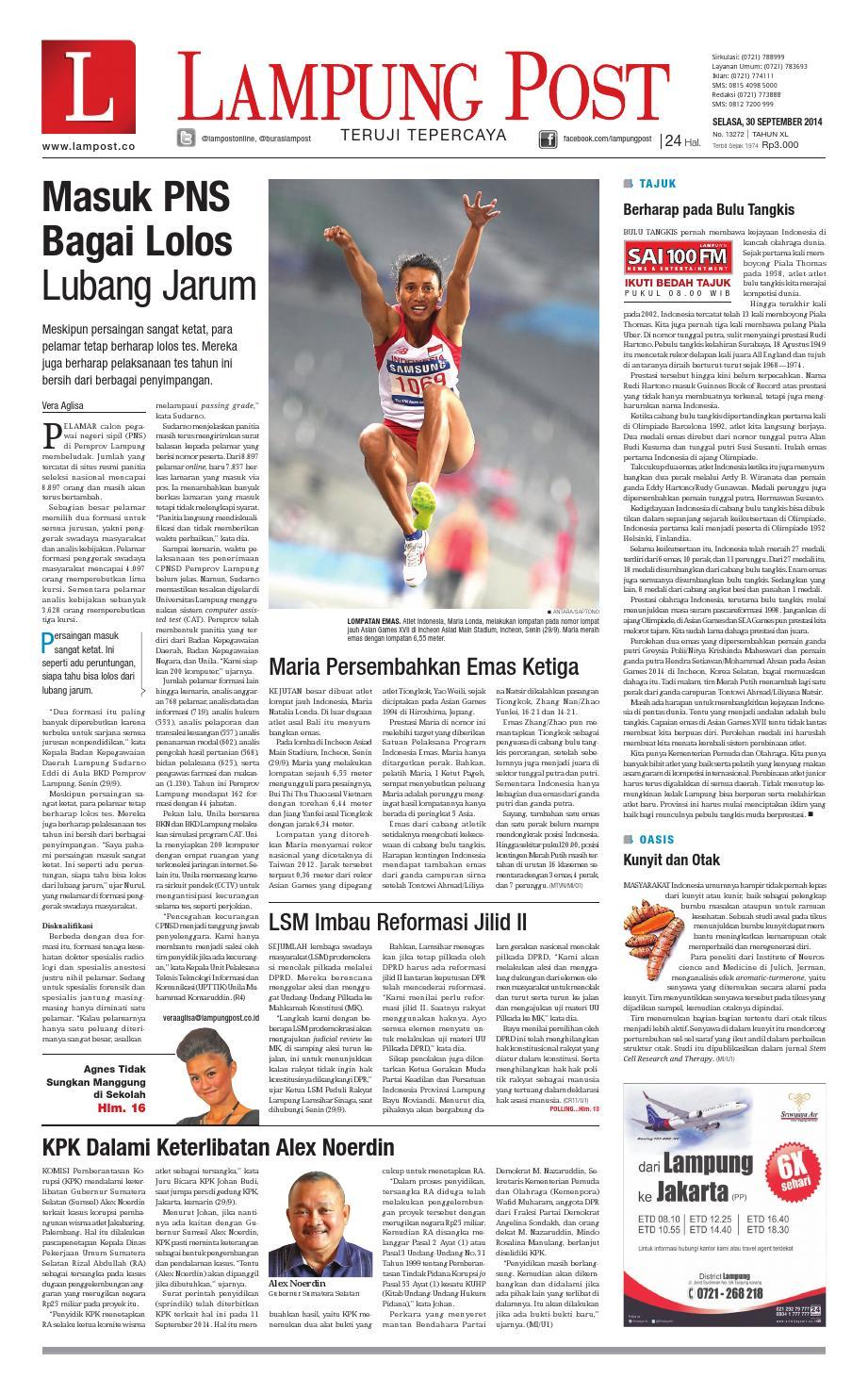 Lampung Post Selasa 30 September 2014 By Issuu Produk Ukm Bumn Jamu Kunyit Asam Seger Waras