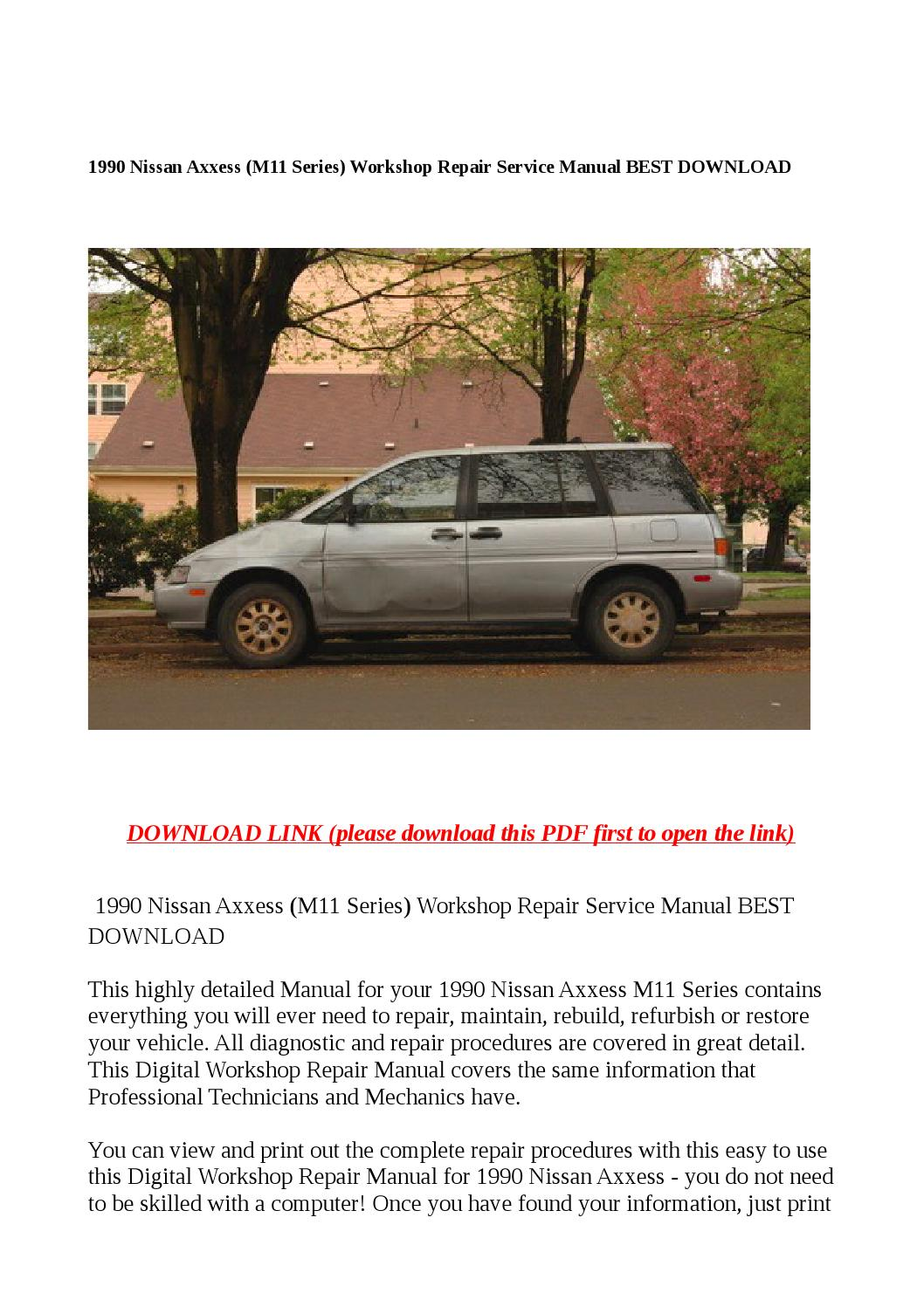 1990 nissan axxess (m11 series) workshop repair service manual best  download by Sally Mool - issuu