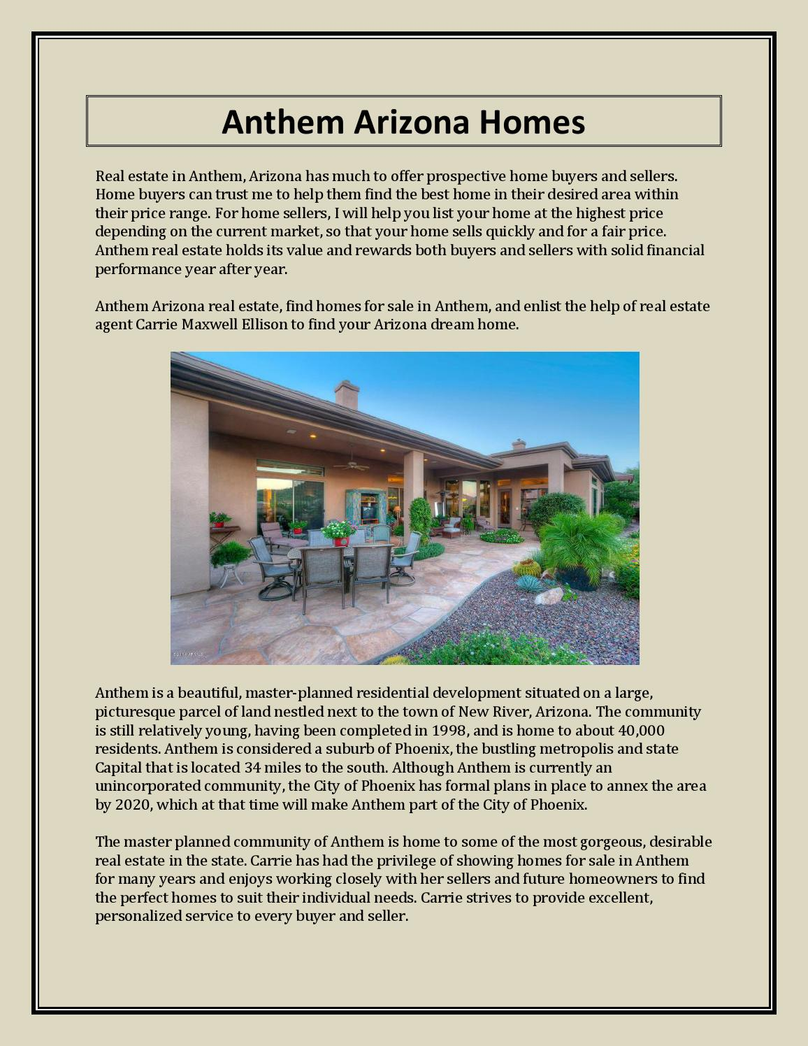 Anthem arizona homes by anthem-arizona - issuu