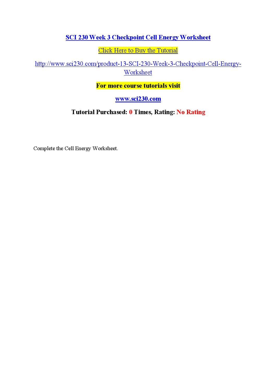 Sci 230 week 3 checkpoint cell energy worksheet by john - issuu