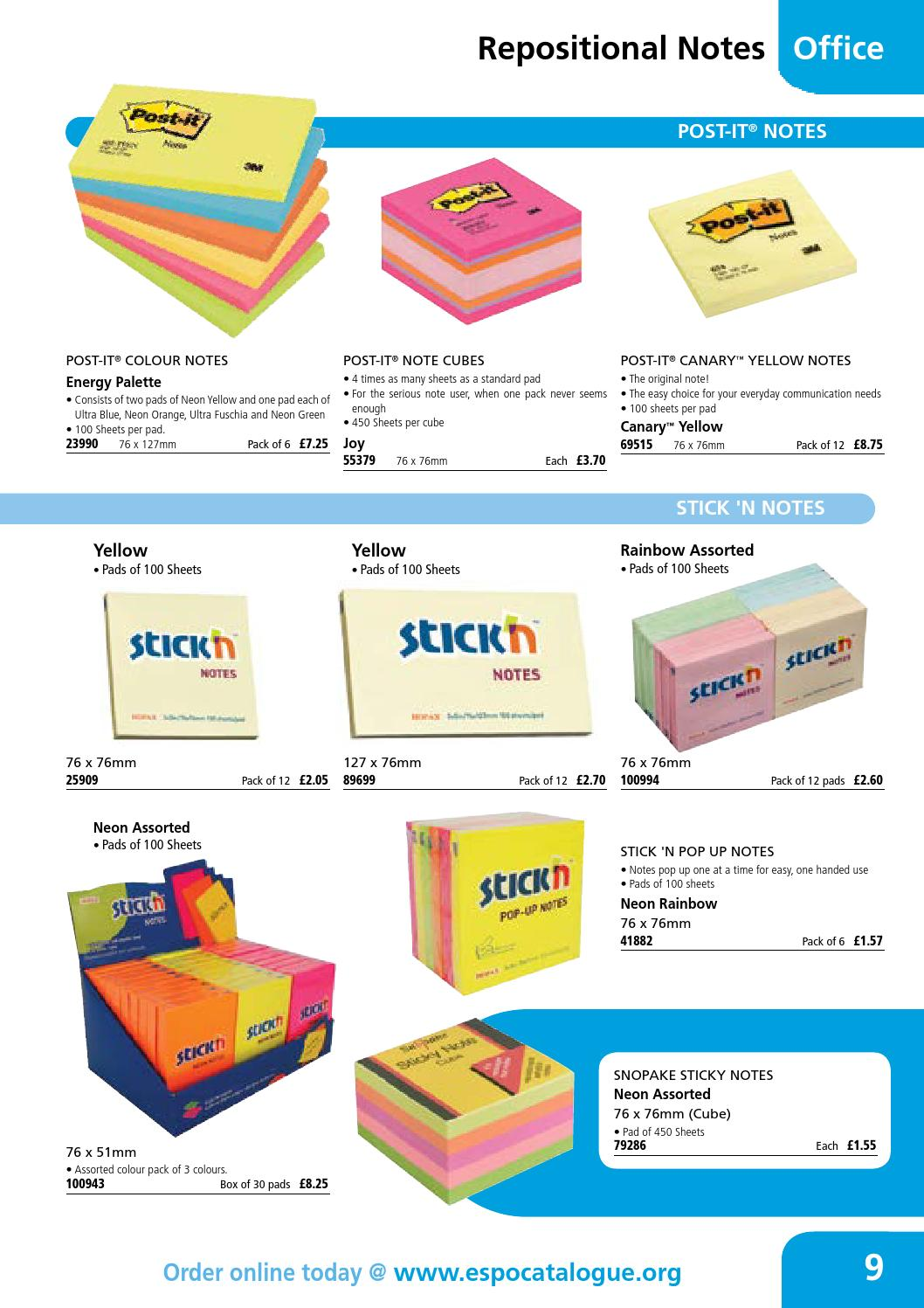 Neon// Assorted Colours Snopake 127x76mm Sticky Notes Pack of 6 , 100 Sheets per Pad