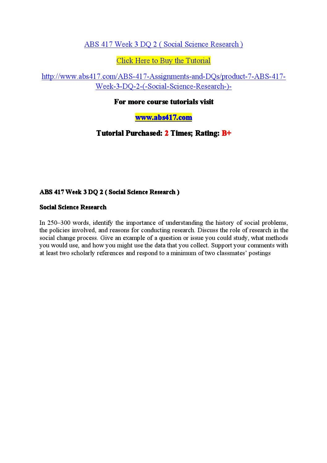 Abs 417 Week 3 Dq 2 Social Science Research By Kenne71 Issuu