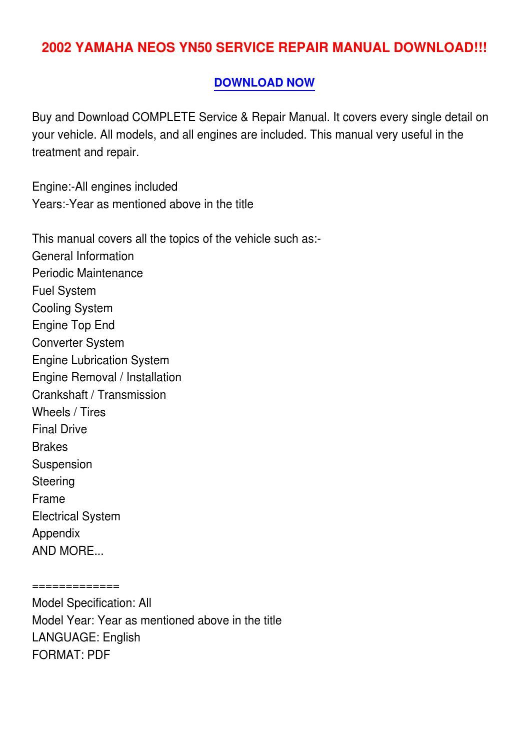 2002 Yamaha Neos Yn50 Service Repair Manual Download    By Leisumispe