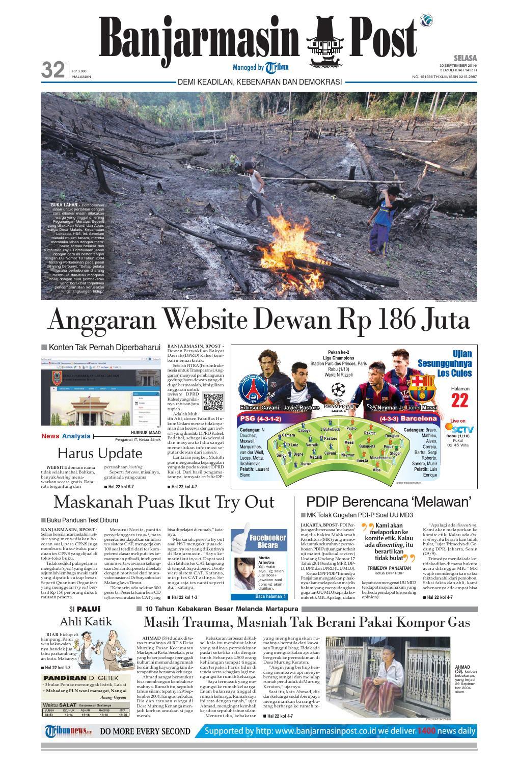 Banjarmasin Post Selasa 30 September 2014 By Issuu Produk Ukm Bumn Tas Ransel Threepoint