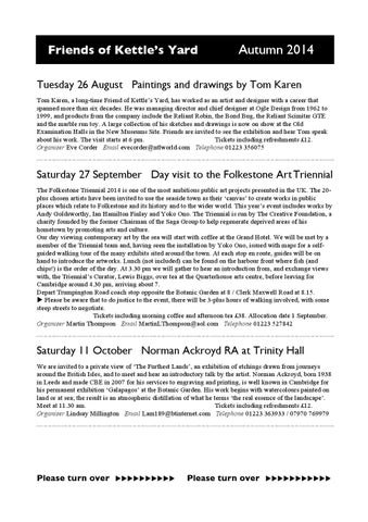 Autumn 2014 Friends Events By Of Kettles Yard