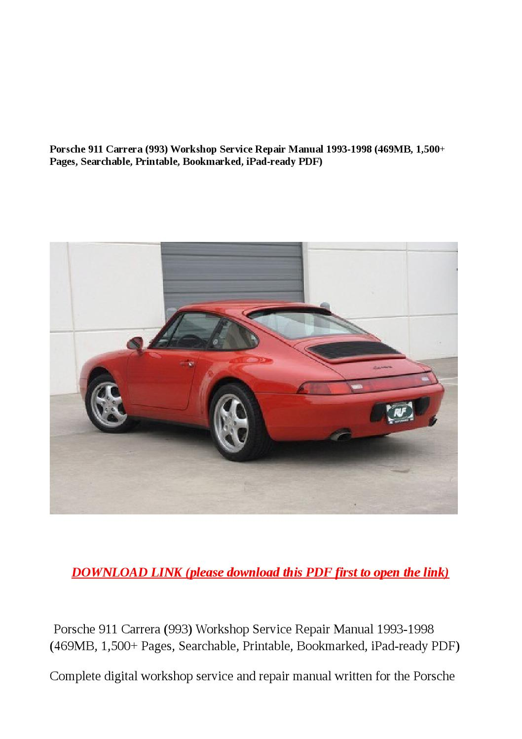 Porsche 911 Carrera  993  Workshop Service Repair Manual
