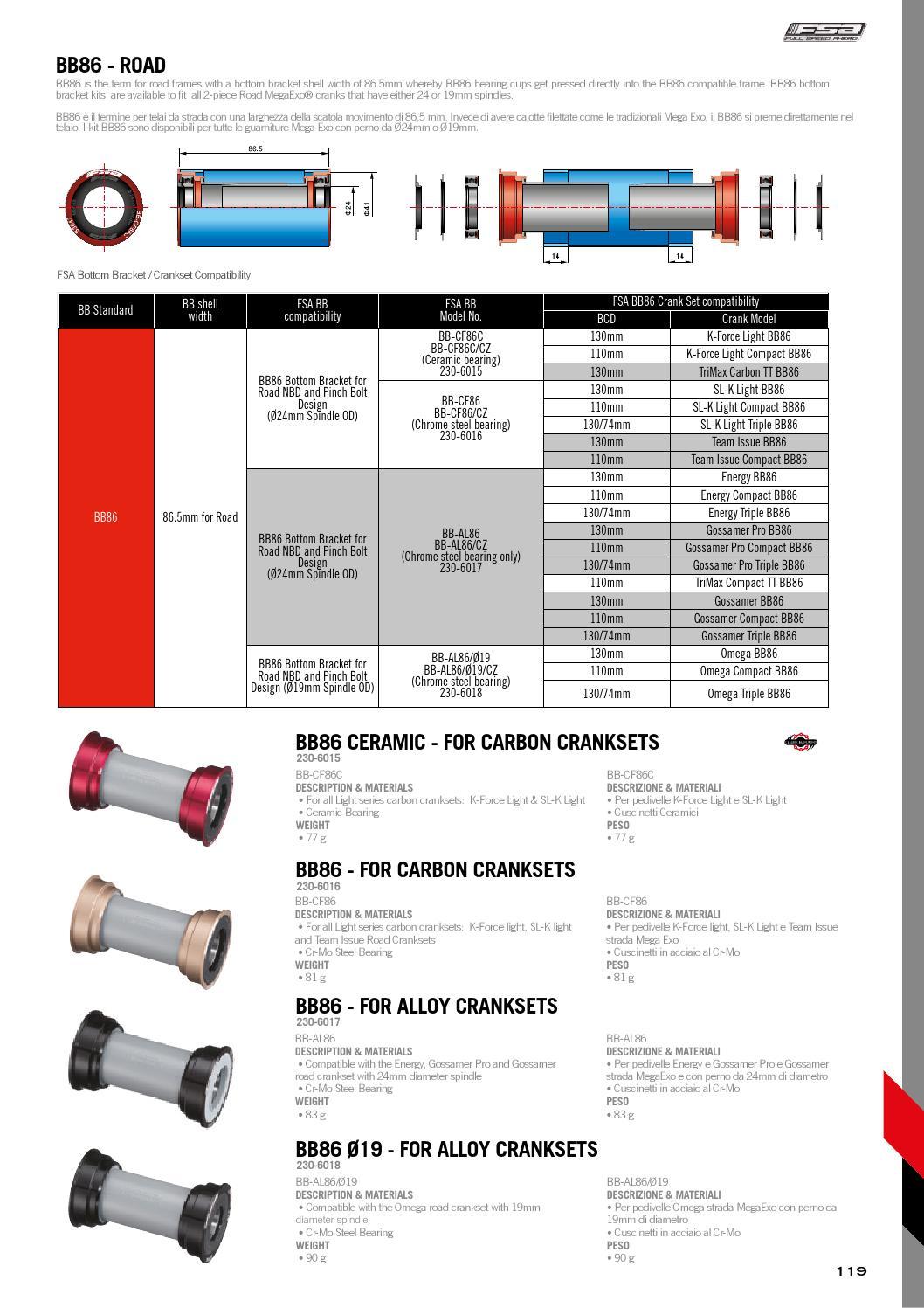 Fsa Bottom Bracket Chainrings & BMX Sprockets BB-AL86 24 Megaexo 230-6017 Cycling