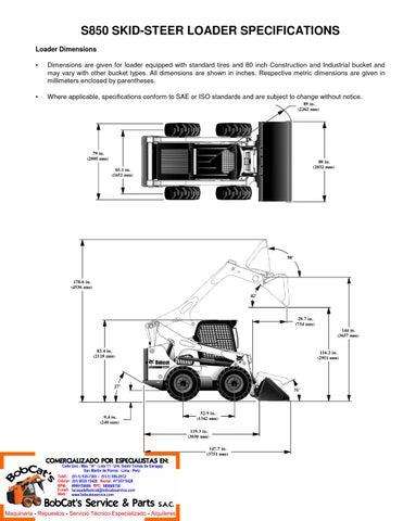 Bobcat S850 - Especificaciones by BobCat's Service & Parts