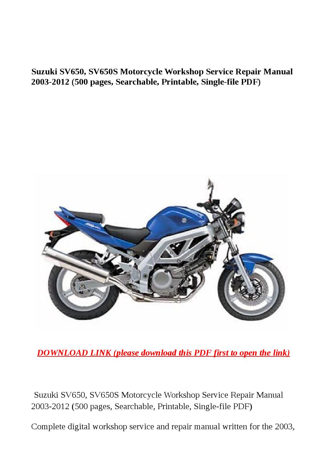 Suzuki Sv650 Sv650s Motorcycle Workshop Service Repair border=