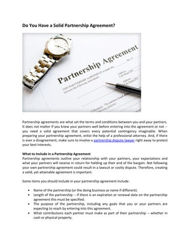 Do You Have A Solid Partnership Agreement By Kenziebahari Issuu