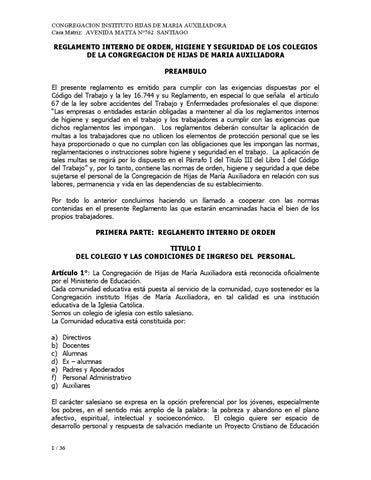 Reglamento Interno Congregacion Hma By Cuadro De Honor